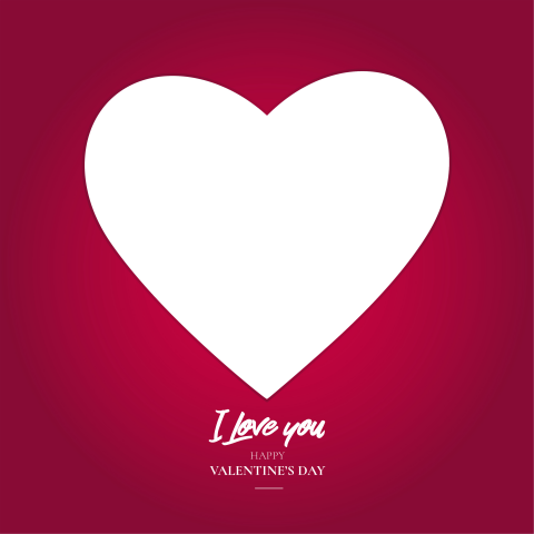 Valentine's day frame free PNG with i love you text - Photo